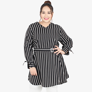 3e965d864bc64 Violetta Belted Striped Long Blouse - B..